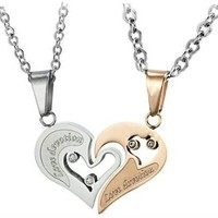 Stainless Steel Diamond Accent His&amp;Hers &quot;Love Devotion&quot; Heart Necklaces,18&quot; and 20&quot;-sn3225:Amazon:Jewelry