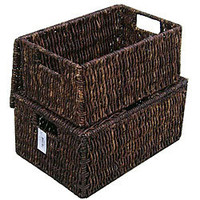 Woven Grass Rectangular Lidded Storage Baskets (Set of 2) | Overstock.com
