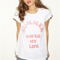 Local Celebrity Summer Saved My Life Schiffer Tee in White
