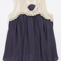 Miss Me Lace Detail Tank (Big Girls) | Nordstrom
