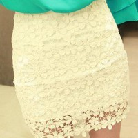 fashion show — White High Waisted Lace Mini Skirt