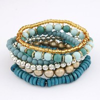 Fashion Bohemian Wood Beads Multilayer Wrap Bracelet-blue:Amazon:Jewelry