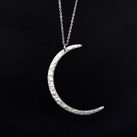 silver plated matte crescent moon necklace ---N031