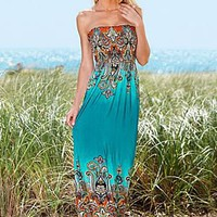 Casual Strapless print maxi dress