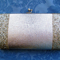 Silver metallic clutch, vintage evening bag, fashion accessories