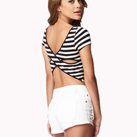 Cross Back Striped Crop Top | FOREVER 21 - 2047330551