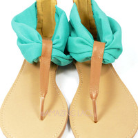 San Marco Island Teal Chiffon Sandals