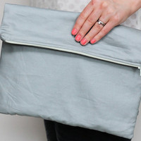 Fold over zipper clutch in slate grey gray with lemon by LumiStyle