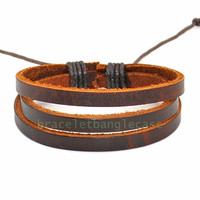 Leather bracelet with 3 pcs leather cuff bracelet men bracelet women wrist bracelet best friend gift friendship gift  d-351