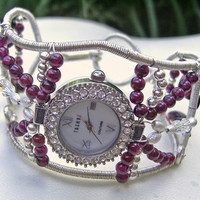 Sterling Silver and Garnet Watch Cuff