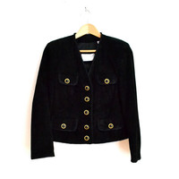 90s Black Leather Suede Jacket with Gold Buttons Size XS/S