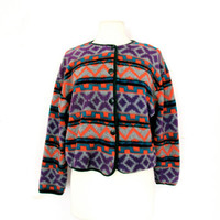 90's Aztec cropped fleece coat size - S/M