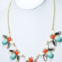 Bee's Knees Necklace - Mint + Coral -  $26.00 | Daily Chic Accessories | International Shipping