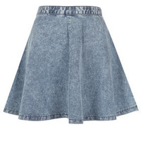 MOTO Acid Wash Swing Skirt - Skirts  - Clothing