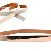 Coveted Gold Metal Plated Skinny Belt - Natural -  $25.00 | Daily Chic Accessories | International Shipping