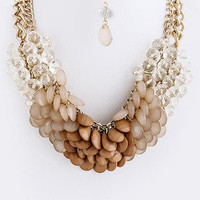 Sea Glass Beaded Statement Necklace - Natural -  $25.00 | Daily Chic Accessories | International Shipping