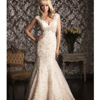 2013 Allure Bridal - Light Gold Lace & Organza Cap Sleep Wedding Dress - Unique Vintage - Prom dresses, retro dresses, retro swimsuits.