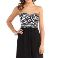 aztec print sweetheart bodice high low with solid chiffon skirt - 1000048012 - debshops.com