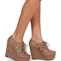 Taupe Cutout Lace Up Wedge