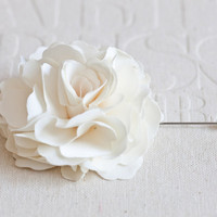 70mm Ivory Satin Men&#x27;s Flower Boutonniere / Buttonhole For Wedding,Lapel Pin,Tie Pin