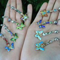 CHOOSE a  butterfly belly ring cloisonne butterfly beads in beach boho gypsy hippie belly dancer  fantasy beach hipster and fantasy style