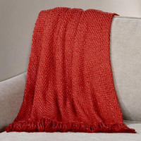 Bossa Nova Red Lurex Basket Weave Throw
