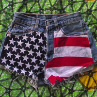 MADE TO ORDER American Flag High Waisted Star Studded by Shortcuts