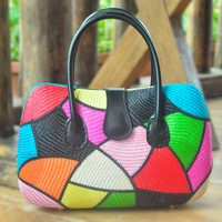 Mutlicolor Rhea, eco friendly handbag, genuine leather handle