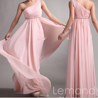 pink one strap A line chiffon bridesmaid dress floor length