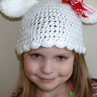 white crochet bunny hat for child by mylittlebows on Etsy