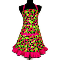 Raspberry Apron , Retro Hostess Ruffle , Adjustable , Pink and Green Kitchen Decor