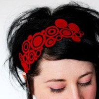 Pop art circles red headband embroidered by janinebasil on Etsy