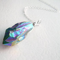 Rainbow Aura Crystal Pendant, Titanium Quartz Necklace, Metallic Crystal Point