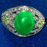5.85ctw Green Jade Natural Peridot Ring sz 8