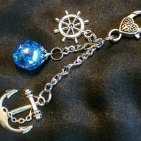 Nautical Fried Marble Anchor Rudder Love Charm Keychain by KatieDidsx3
