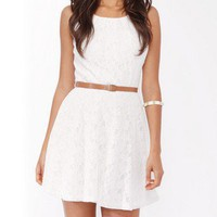 Lace Fit &amp; Flare Dress w/ Belt | FOREVER 21 - 2017305759