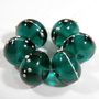 Handmade Beads Dark Teal Lampwork Beads Transparent Glass Fine Silver