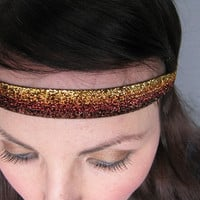 Boho Glitter headband, Brown and Gold Sparkle Headband