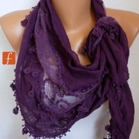 Purple  Scarf - Shawl Scarf -  Cowl Scarf