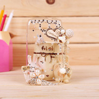1PC Bling Crystal Wooden I Love You Heart w/Dangling Charm Plastic Back Case Cover for Samsung Galaxy S3