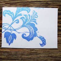 3 Flower Letterpress Postcards in Lavender and Light Blue