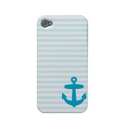 Blue Anchor and Light Blue Sailor Stripes Case-mate Iphone 4 Cases from Zazzle.com