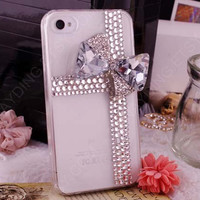 Tiffany blue iphone case bow iphone cover Bling Tiffany style Bow iPhone 4 Case Custom Handmade rhinestone Crystal cross bow iphone 4s case