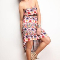 Multicolor Blurred Pattern Dress