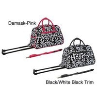 World Traveler Damask with Pink 21-inch Carry On Rolling Duffle Bag | Overstock.com