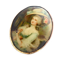 Antique Cameo Brooch  - Gold Tone Victorian Edwardian Vintage Costume Jewelry Pin / Late 1800s Lady