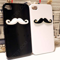Mustache Iphone 4 4s Case Cover Couple iPhone case White iphone case Black iphone case iPhone 5 case cover iPhone cases Avantis Iphone case