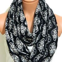 skull patterned cotton linen scarves,fashion scarf spring scarf,infinity scarf,gifts birthday gifts,