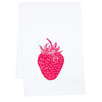 One Kings Lane - Summer-Party Invites - Organic Print Tea Towel, Strawberry