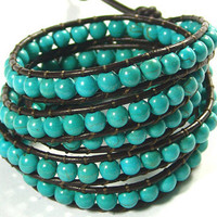 5X Leather Wrap Bracelet With Turquoise Stones by ashleyspace